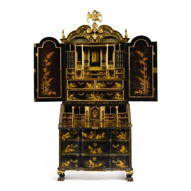 View 6. Thumbnail of Lot 555. A CHINESE EXPORT BLACK AND GOLD LACQUER BUREAU CABINET, CIRCA 1730.