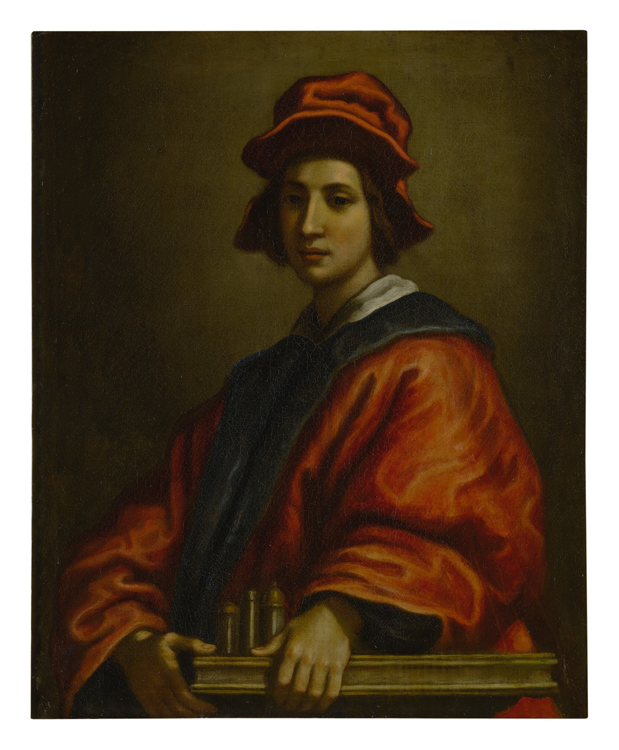 View full screen - View 1 of Lot 601. FRANCESCO CURRADI | PORTRAIT OF A YOUNG MAN, POSSIBLY AN ARCHITECT, HALF LENGTH, WEARING A RED HAT AND ROBE.