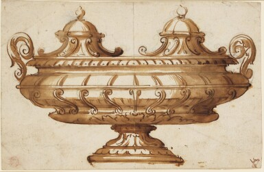 View 1. Thumbnail of Lot 522. ITALIAN SCHOOL, 17TH CENTURY   Design for an inkstand.