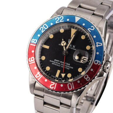 View 1. Thumbnail of Lot 9. ROLEX | GMT-Master, Ref. 1675, A Stainless Steel Wristwatch with Bracelet Circa 1972.