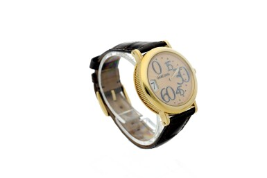View 3. Thumbnail of Lot 71. GÉRALD GENTA   REFERENCE 3634  A YELLOW GOLD AUTOMATIC JUMP HOUR WRISTWATCH WITH RETROGRADE MINUTES, CIRCA 2005.