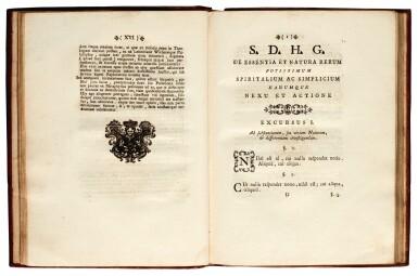 View 2. Thumbnail of Lot 112. Egenus Explorator, De essentia et natura rerum, Naples, 1781, contemporary calf gilt.