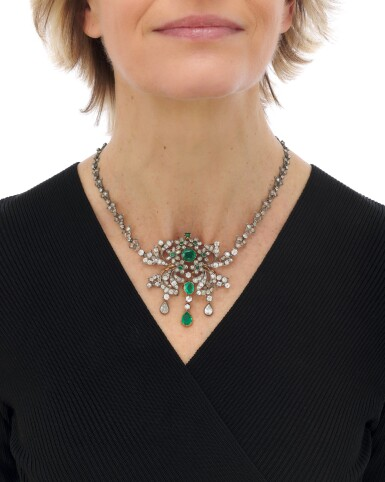View 6. Thumbnail of Lot 6. Emerald and diamond pendant-necklace (Collana con pendente in smeraldi e diamanti), 1890.