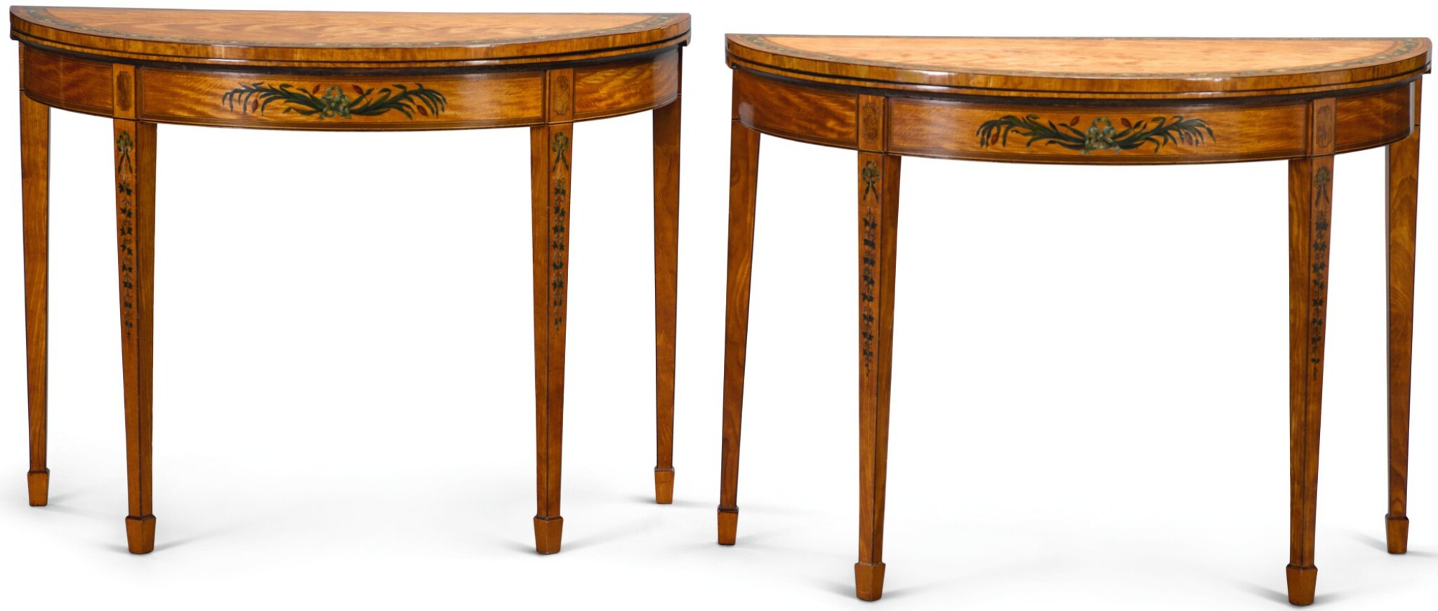 View full screen - View 1 of Lot 35. A PAIR OF GEORGE III PAINTED SATINWOOD DEMI-LUNE CARD TABLES, CIRCA 1790, ATTRIBUTED TO SEDDON, SONS & SHACKLETON.