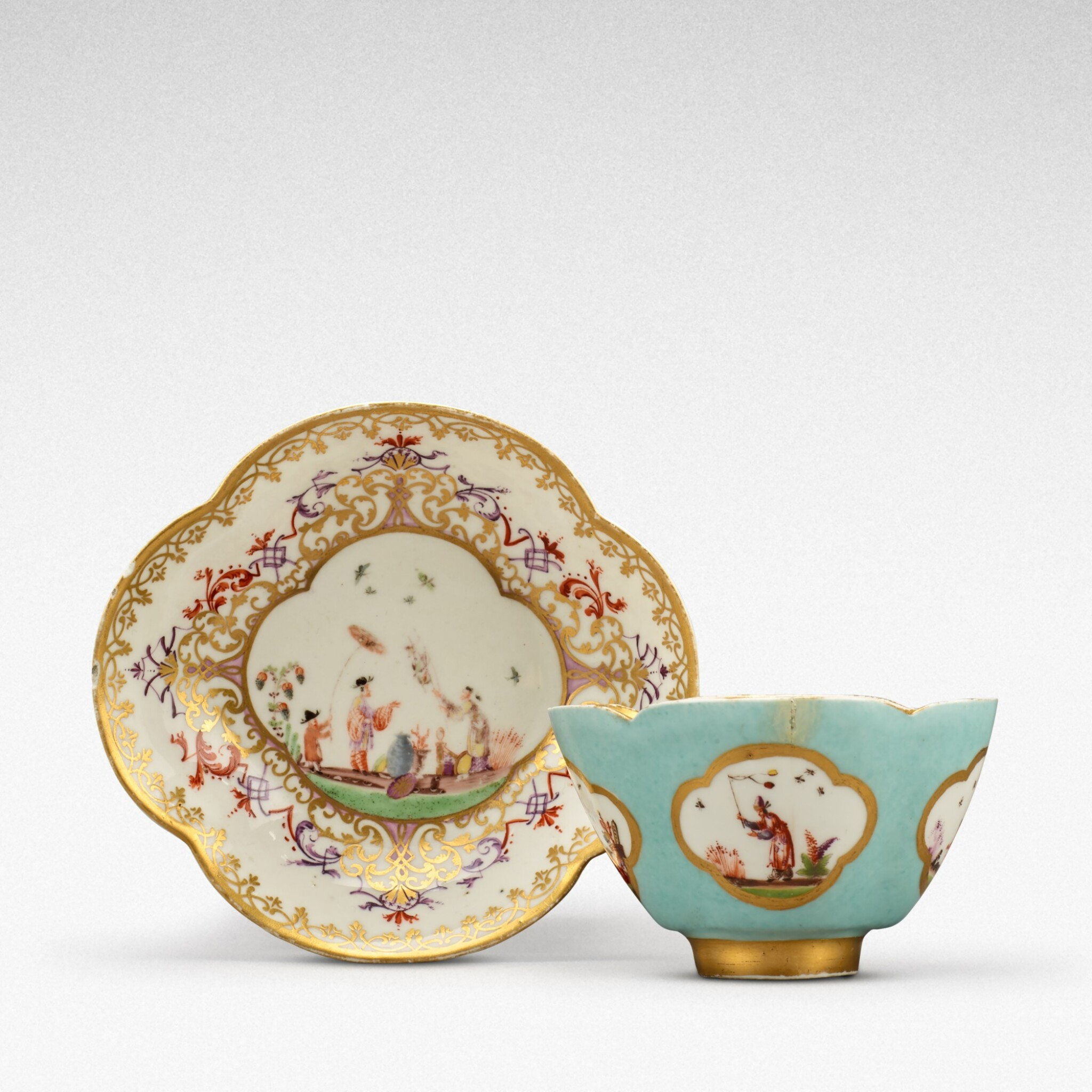View full screen - View 1 of Lot 105. A Meissen seladon-ground teabowl and a saucer, the tea bowl Circa 1735, the saucer later .