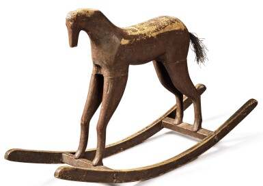 PAINTED AND CARVED OAK AND HORSEHAIR CHILD'S ROCKING HORSE, CIRCA 1900