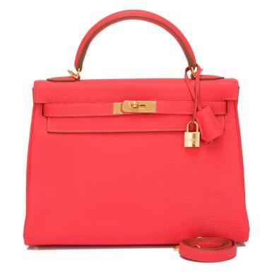 Hermès Rose Jaipur Clemence Kelly 32cm Gold Hardware