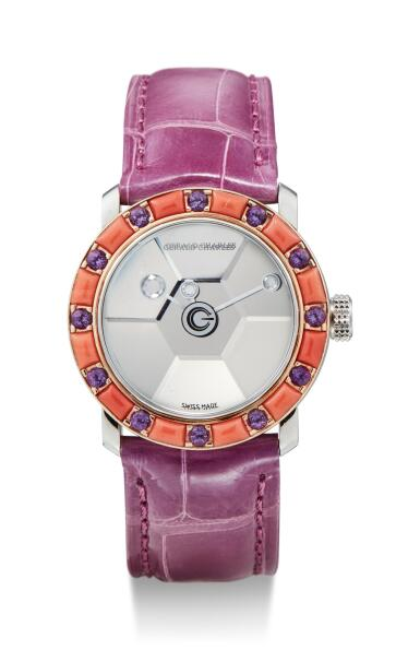 View 1. Thumbnail of Lot 8078. GERALD CHARLES | STAR LADY, A SET OF TWO STAINLESS STEEL AND DIAMOND, YELLOW SAPPHIRE, OYNX, AMETHYST AND CORAL-SET WRISTWATCHES, CIRCA 2000.