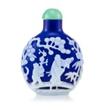 A White Overlay Cobalt-Blue Glass 'Scholar in a Pavilion' Snuff Bottle Qing Dynasty, 18th - 19th Century | 清十八至十九世紀 藍地套白料高士圖鼻煙壺