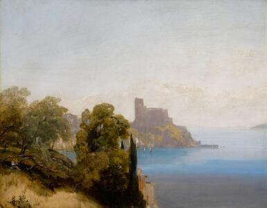 View 1. Thumbnail of Lot 36. View of Lerici with Baron Charles Rivet sketching in the foreground.