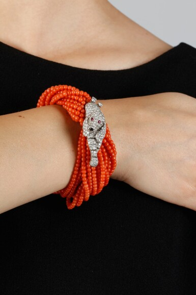 View 4. Thumbnail of Lot 58. CARTIER | CORAL AND DIAMOND BRACELET, 1960S.