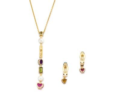 View 3. Thumbnail of Lot 1630. 'Allegra' Gem Set and Diamond Demi-Parure | 寶格麗| 'Allegra' 寶石  配 鑽石 項鏈及耳環套装.