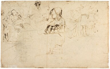 View 2. Thumbnail of Lot 23. Recto: An old bearded man holding a bundle beneath his arm; verso: Various composition studies.