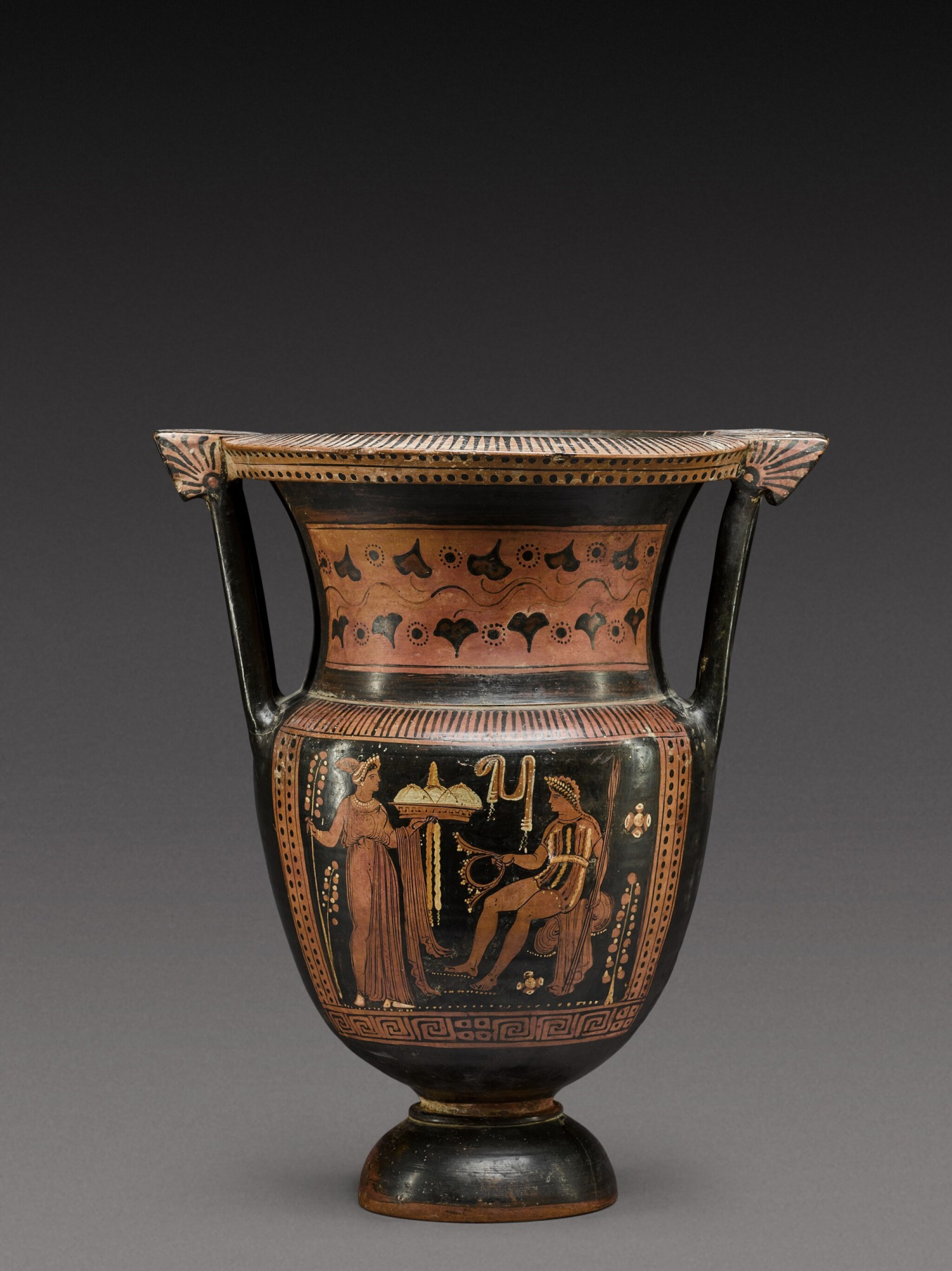 View full screen - View 1 of Lot 35. An Apulian Red-figured Column Krater, attributed to the Painter of the Truro Pelike, circa 350-330 B.C. .