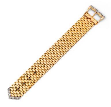 View 1. Thumbnail of Lot 60. Gold and diamond bracelet [Bracelet or et diamants], 1950s [vers 1950].