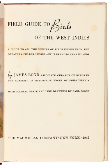 View 4. Thumbnail of Lot 109. BOND | Field Guide of Birds in the West Indies, 1947, presentation copy.