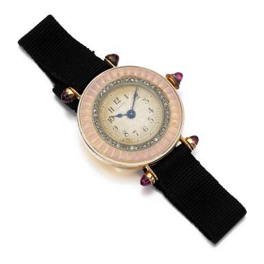 View 2. Thumbnail of Lot 185. Lady's gem set and enamel wristwatch.