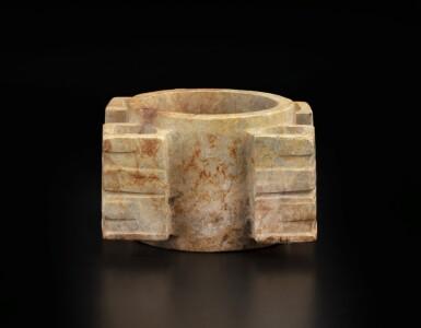 View 6. Thumbnail of Lot 50. A rare Liangzhu-style beige jade cong | 良渚風格玉琮.