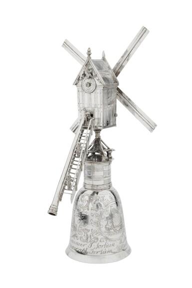 View 6. Thumbnail of Lot 1. A Dutch silver windmill cup, unknown maker's mark, Zierikzee, 1724-1732 | Coupe en forme de moulin à vent en argent, Zierikzee, 1724-1732.