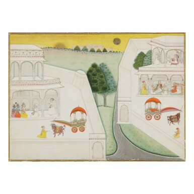 View 1. Thumbnail of Lot 367. AN ILLUSTRATION TO A BHAGAVATA PURANA SERIES: AKRURA TRAVELS TO HASTINAPURA TO MEET KUNTI,  BIKANER, INDIA, CIRCA 1690-1710.