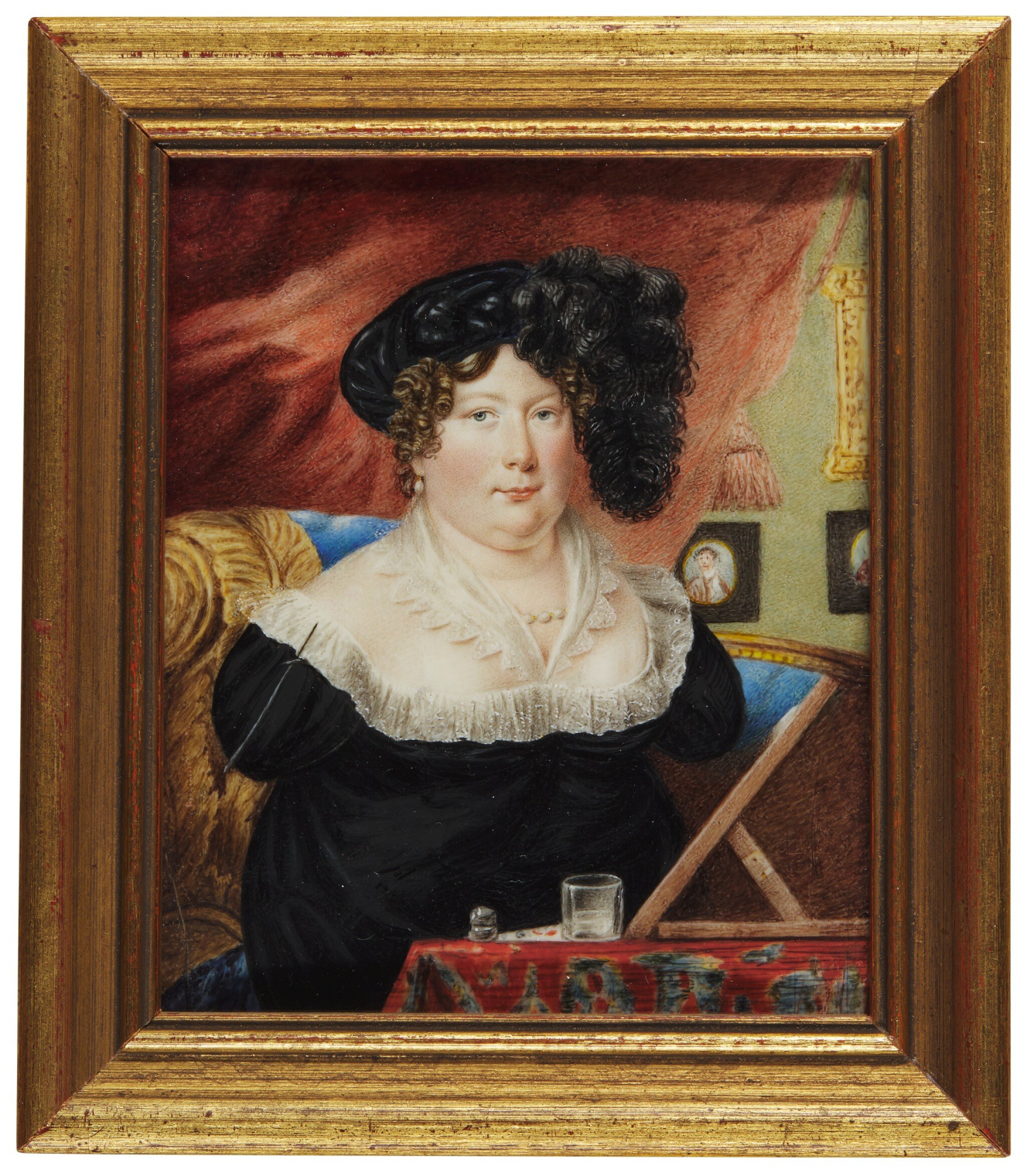 View full screen - View 1 of Lot 365. SARAH BIFFIN, LATER MRS WRIGHT | SELF-PORTRAIT BEFORE HER EASEL, CIRCA 1821.