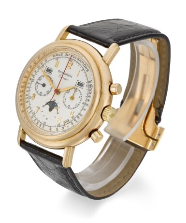 View 2. Thumbnail of Lot 14. EKEGREN | YELLOW GOLD CHRONOGRAPH WRISTWATCH WITH DAY, DATE, MONTH AND MOON-PHASES, CIRCA 1990.