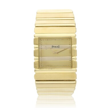 View 1. Thumbnail of Lot 30. Reference 7131 C 701 Polo  A yellow gold square shaped bracelet watch, Circa 1985 .