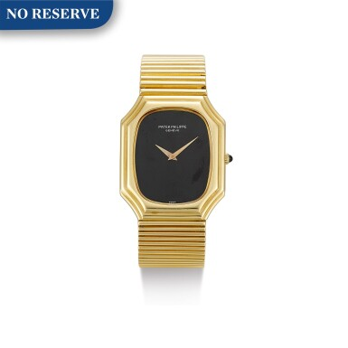 View 1. Thumbnail of Lot 616. PATEK PHILIPPE | REFERENCE 3729/1,  A YELLOW GOLD BRACELET WATCH WITH ONYX DIAL, MADE IN 1976.