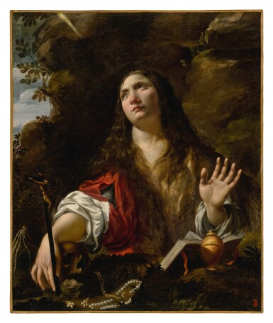 CIRCLE OF SIMON VOUET | PENITENT MARY MAGDALENE WITH ROSARY, IN A CAVE