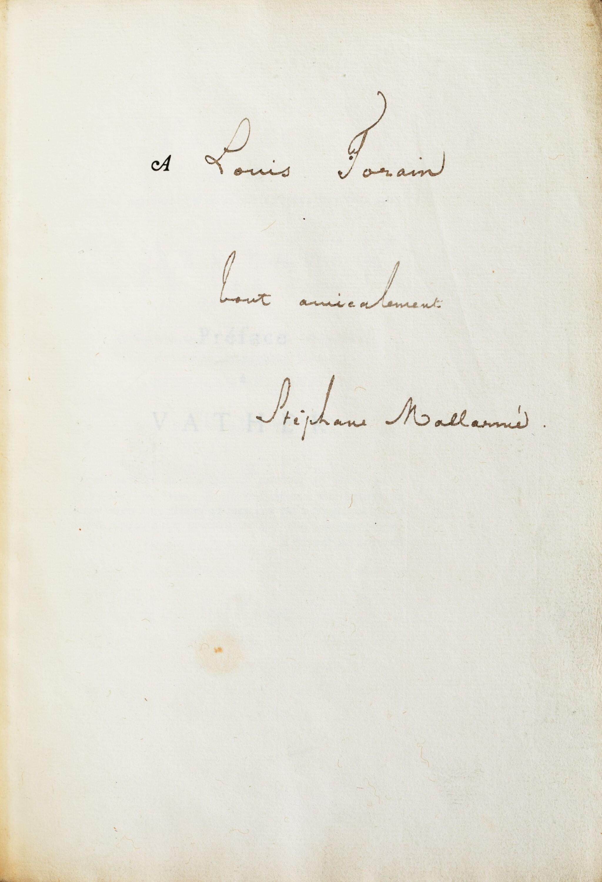 View full screen - View 1 of Lot 137.  Préface à Vathek. 1876. 1/95 sur Hollande ; corrections autographes. Exemplaire du peintre Forain.