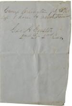 Custer, George A. Autograph document signed, Camp Arlington, Virginia, 20 July 1861