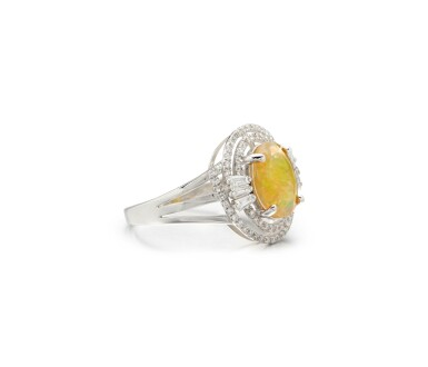 View 2. Thumbnail of Lot 28. OPAL AND DIAMOND RING.