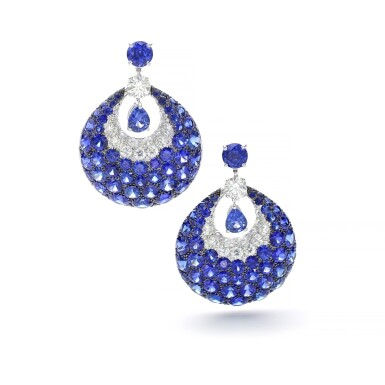 View 1. Thumbnail of Lot 1102. Pair of sapphire and diamond earrings.