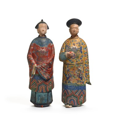 View 1. Thumbnail of Lot 102. A pair of Chinese Export polychrome decorated clay nodding figures, early 19th century.