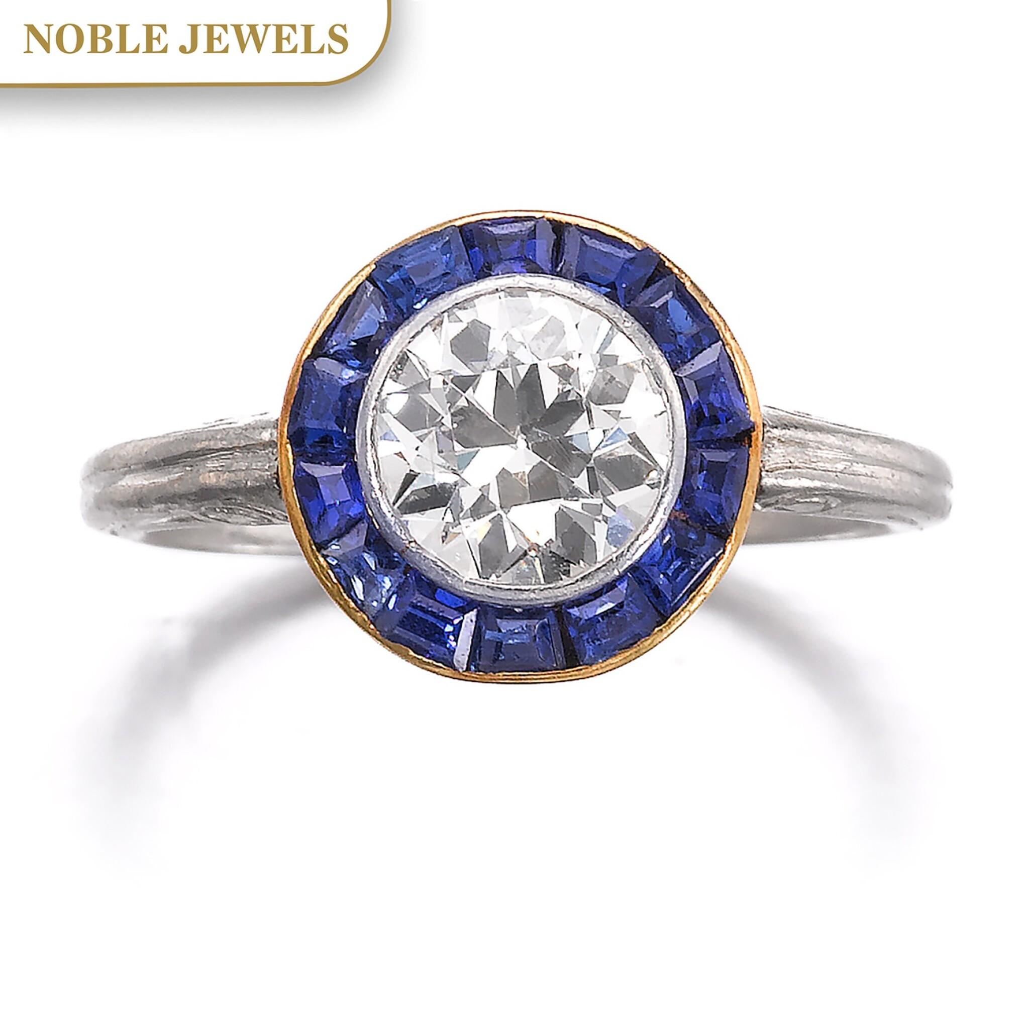 View full screen - View 1 of Lot 665. Diamond and sapphire ring, circa 1915 | 鑽石配藍寶石戒指,約1915年.