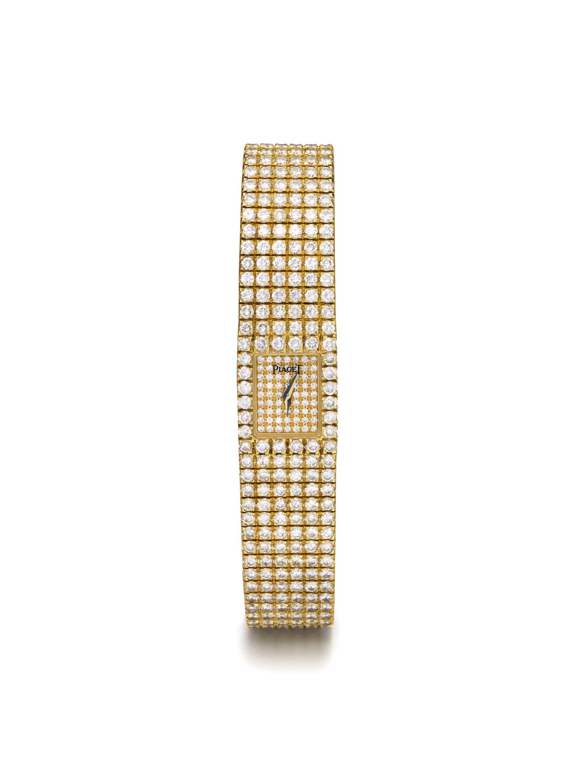 View full screen - View 1 of Lot 44. PIAGET | POLO REF 15201 C 62 6 A LADY'S YELLOW GOLD AND DIAMOND SET BRACELET WATCH CIRCA 1990.