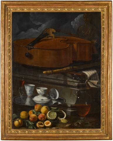 View 3. Thumbnail of Lot 54. CRISTOFORO MUNARI  |  STILL LIFE WITH PORCELAIN CUPS AND A FAÇON DE VENISE GLASS ON A SALVER, WITH A GLASS WINE EWER, PEELED LEMON AND APRICOTS, BEFORE A PLINTH WITH A VIOLONCELLO, RECORDER, AND MUSICAL SCORES.