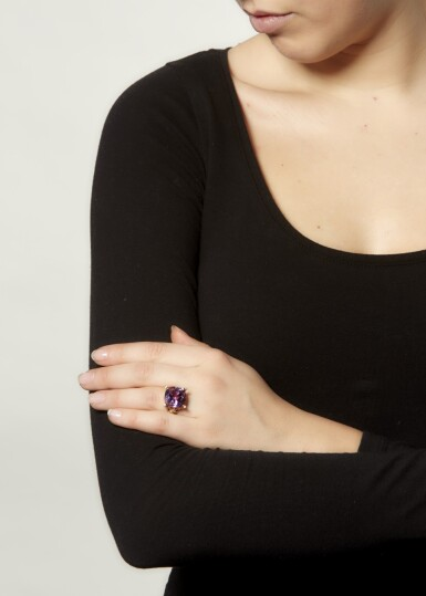 View 4. Thumbnail of Lot 16. AMETHYST AND DIAMOND RING.