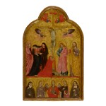 Sold Without Reserve | MASTER OF THE SAN TOMMASO DOSSAL | THE CRUCIFIXION WITH THE ARCHANGEL MICHAEL AND SAINTS ELIZABETH OF HUNGARY, AGNES, CATHERINE OF ALEXANDRIA AND CLARE; THE 'IMAGO PIETATIS' WITH THE DONOR FIGURES OF A FRANCISCAN FRIAR AND NUN ON THE VERSO