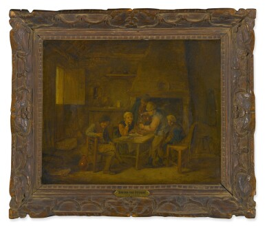 View 2. Thumbnail of Lot 89. Sold Without Reserve   MANNER OF ADRIAEN VAN OSTADE   A TAVERN INTERIOR WITH FIGURES DRINKING AND SMOKING AROUND A TABLE.