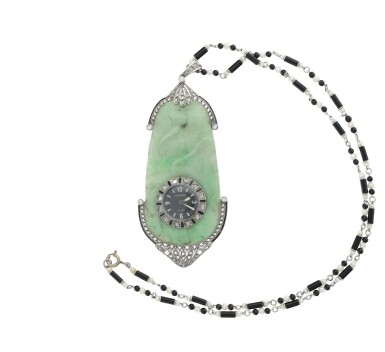 View 3. Thumbnail of Lot 64. JAEGER-LECOULTRE |  RETAILED BY GHISO: A JADE, PLATINUM, DIAMOND, AND ENAMEL PENDANT WATCH, CIRCA 1925.