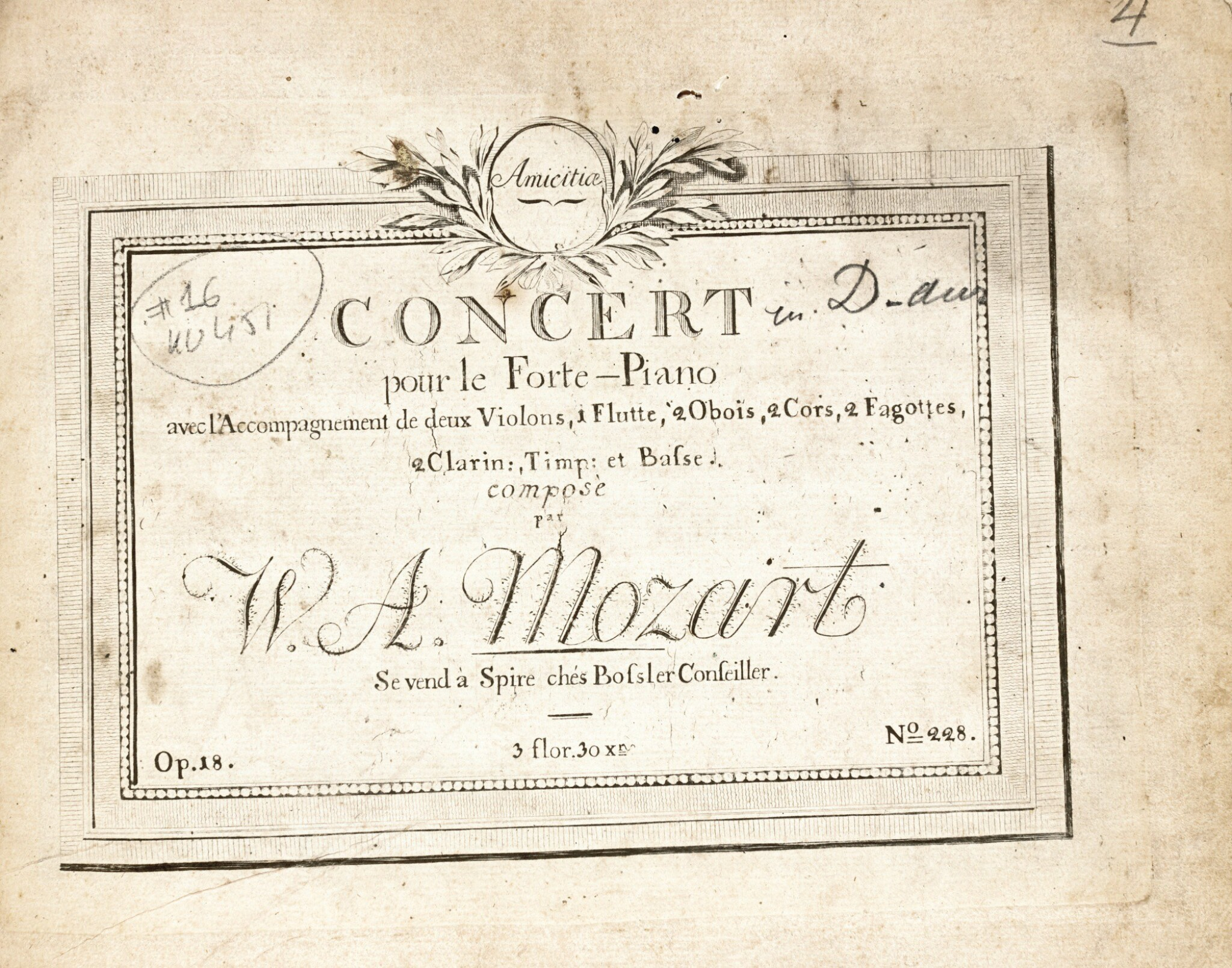 View full screen - View 1 of Lot 60. W.A. Mozart, Two volumes of first and early editions of the piano concertos etc., C18th and early C19th.