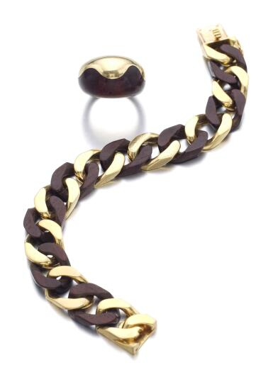 GOLD AND WOOD BRACELET, AND A RING, VAN CLEEF & ARPELS