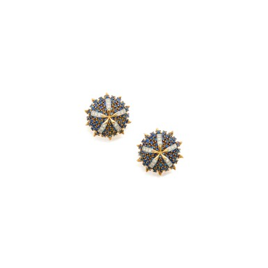 PAIR OF SAPPHIRE AND DIAMOND EARCLIPS, SCHLUMBERGER FOR TIFFANY & CO., FRANCE
