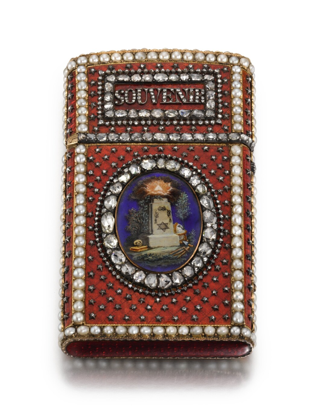 A JEWELLED GOLD AND ENAMEL COMMEMORATIVE SOUVENIR, PROBABLY FRENCH, CIRCA 1890