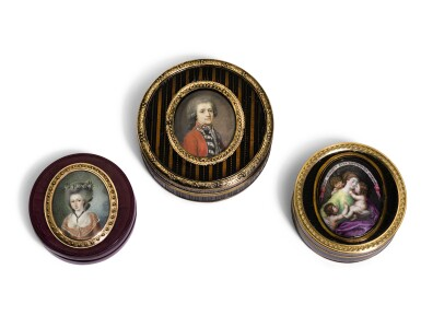 A GROUP OF THREE BOÎTES À MINIATURES, PROBABLY FRENCH, VARIOUS DATES