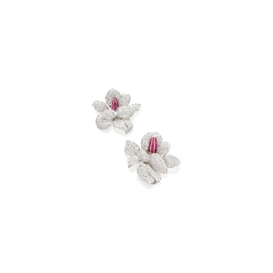 PAIR OF DIAMOND AND RUBY CLIP-BROOCHES