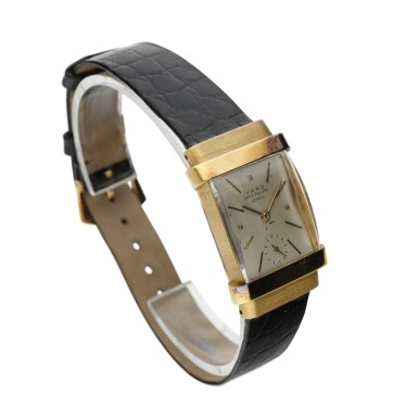 View 2. Thumbnail of Lot 137. PATEK PHILIPPE  | REFERENCE 1450 'TOP HAT' RETAILED BY RAYMOND YARD: A YELLOW GOLD RECTANGULAR WRISTWATCH, CIRCA 1950.