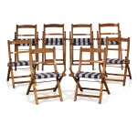 A SET OF EIGHT SHIP'S ASH AND BEECH FOLDING CHAIRS, EARLY 20TH CENTURY
