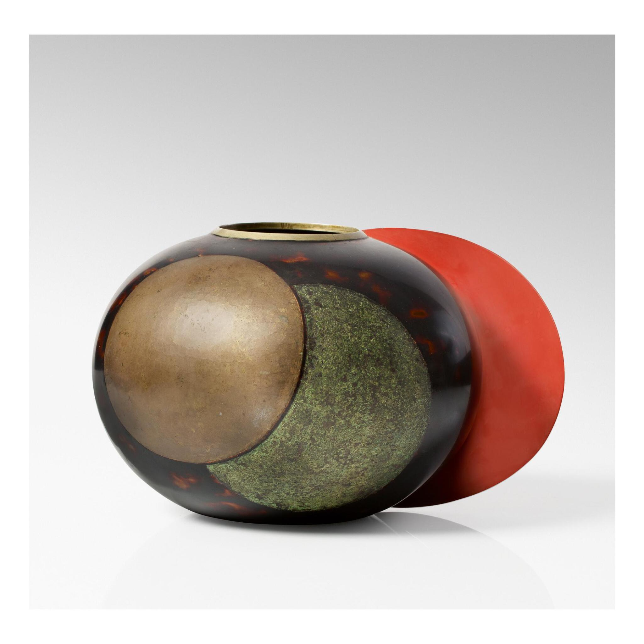 """View full screen - View 1 of Lot 6. JEAN DUNAND   """"AILETTE"""" VASE."""